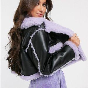 Reversible crop bonded borg jacket